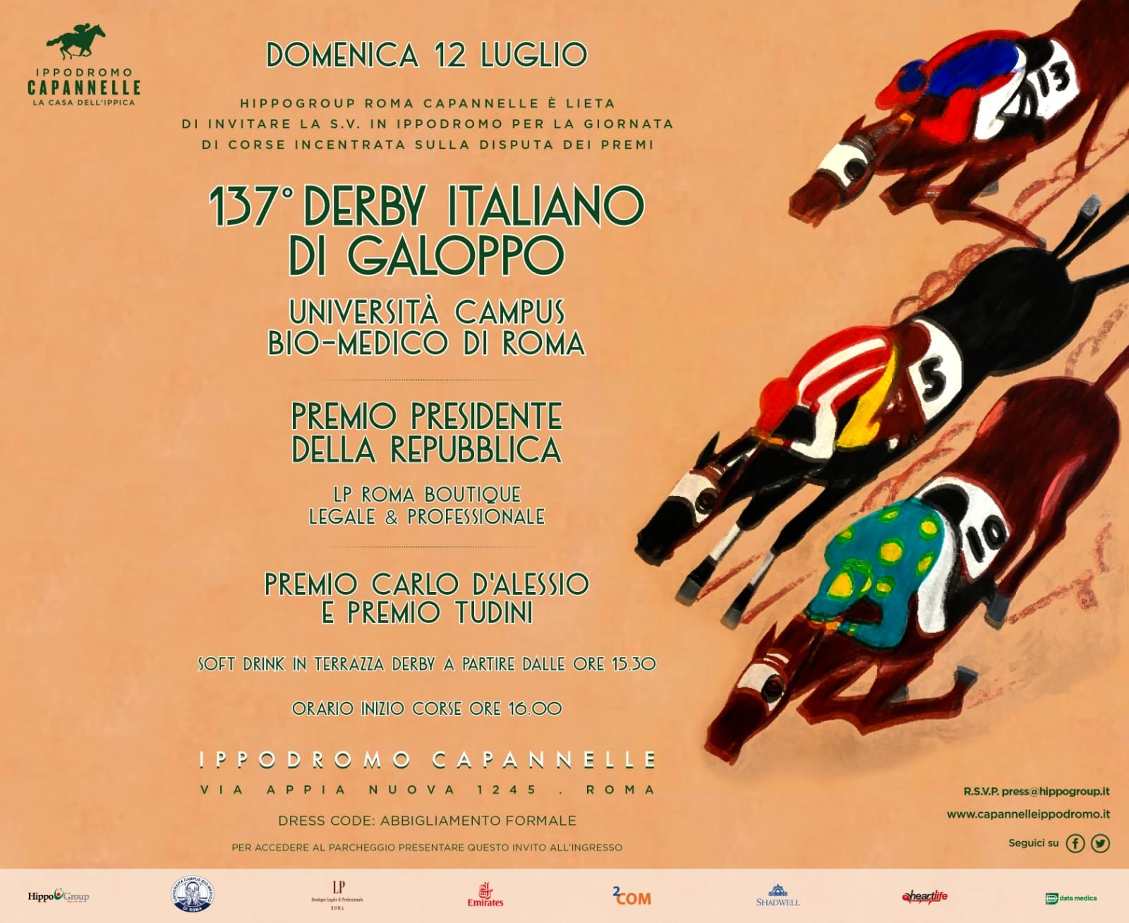 IPPODROMO LE CAPANNELLE  137^ DERBY DI GALOPPO 12 LUGLIO